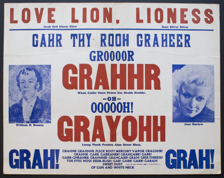Michael McClure (American, b. 1932). Love Lion, Lioness, 1964