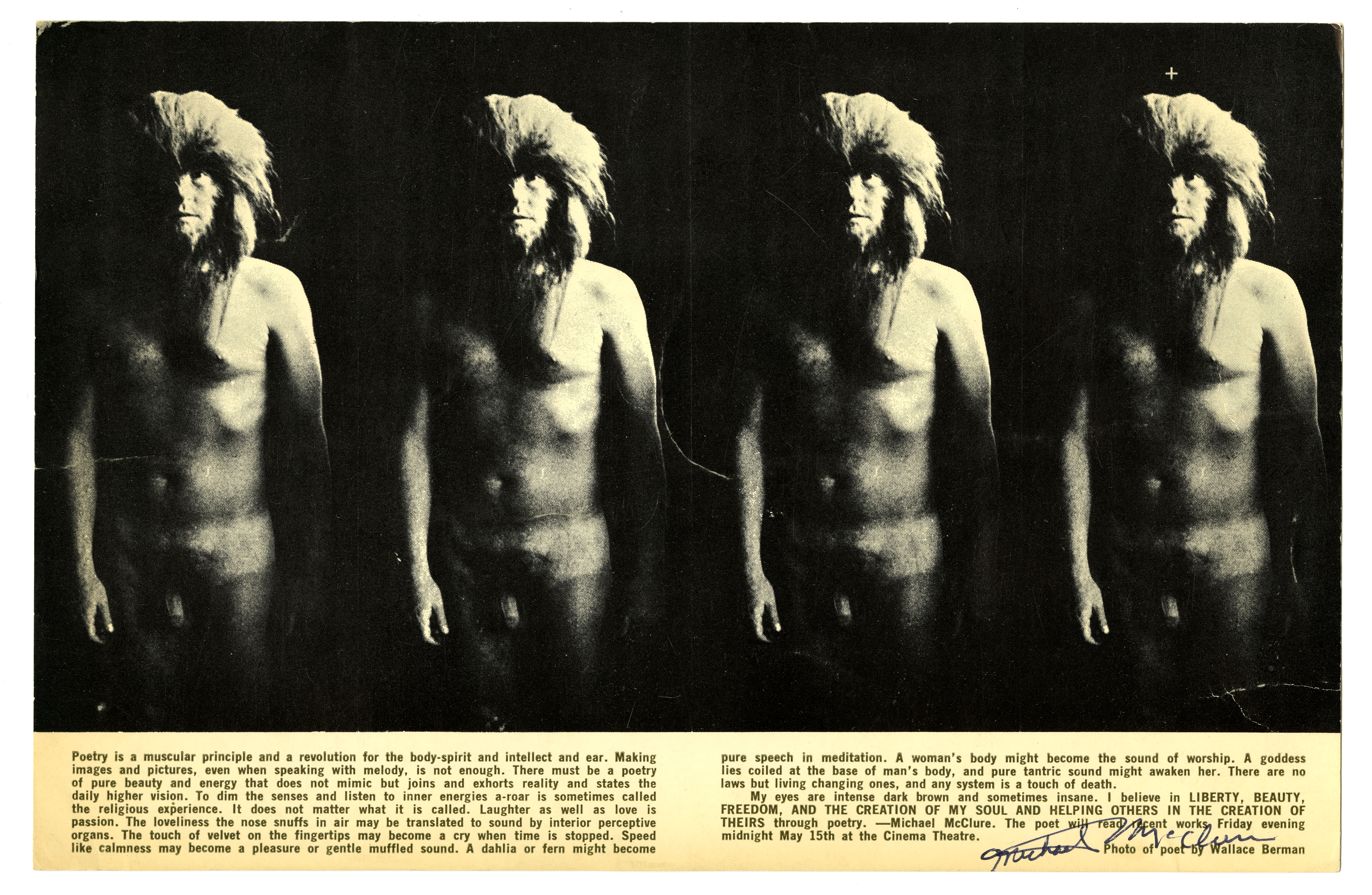 Michael McClure. Poetry Is a Muscular Principle, 1964