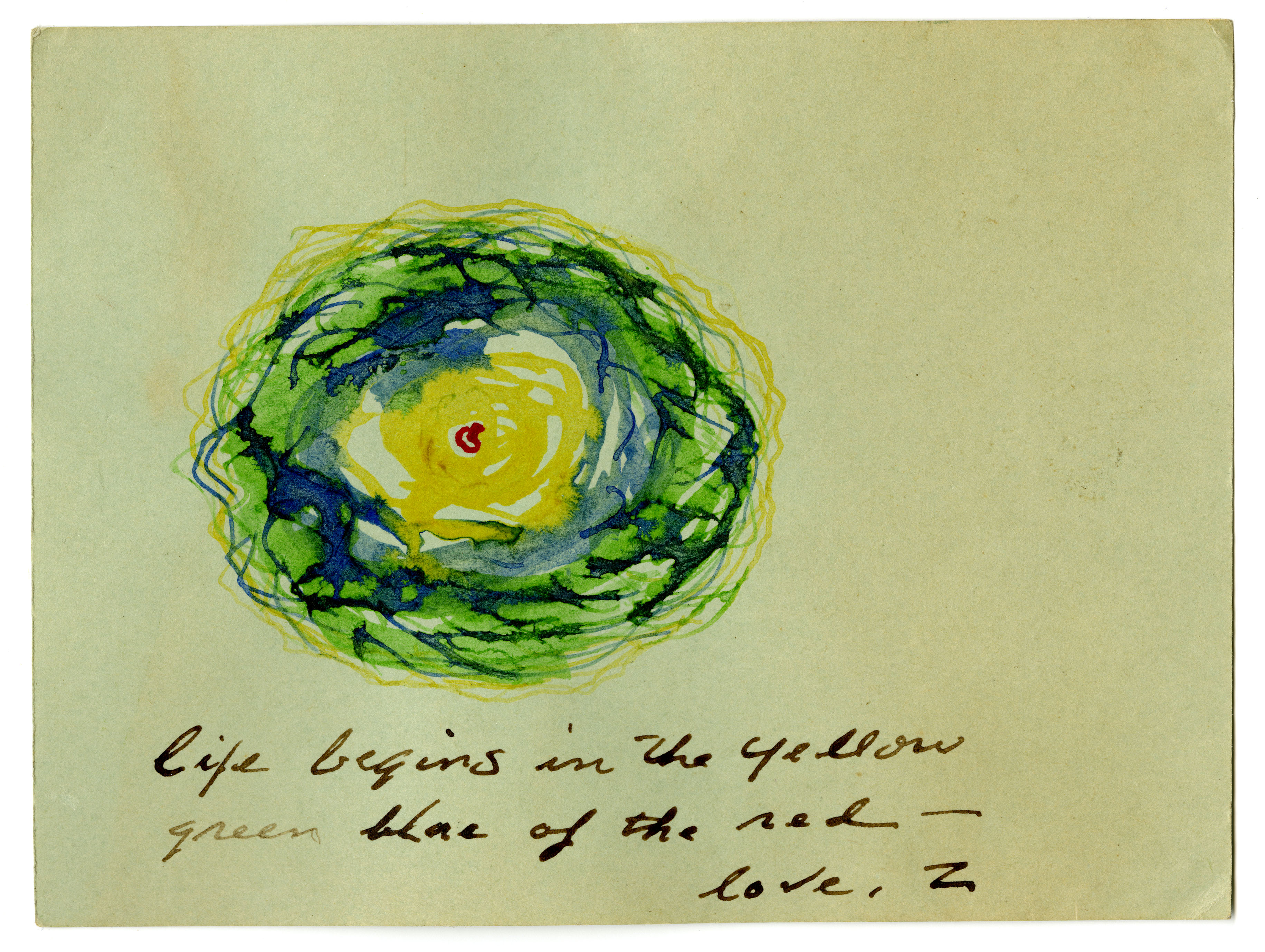 """Zack Walsh (American, 1924 – 2002). Untitled [""""Life begins in the yellow green blue of the red""""], n.d."""
