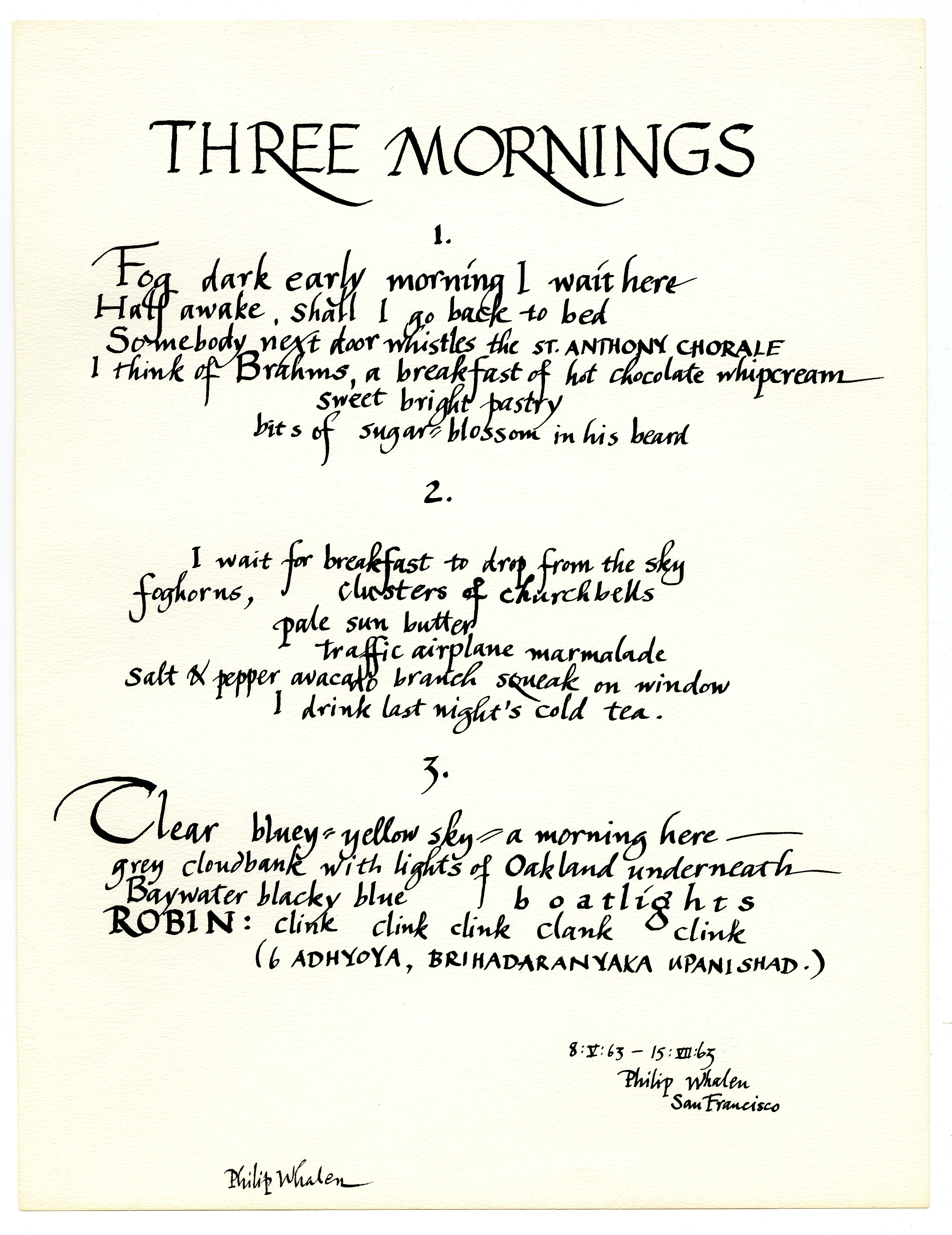 Philip Whalen. Three Mornings, 1963.