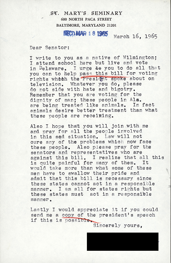 Letter from constituent sent to Senator John J. Williams asking him to vote for passage of the Voting Rights Bill.