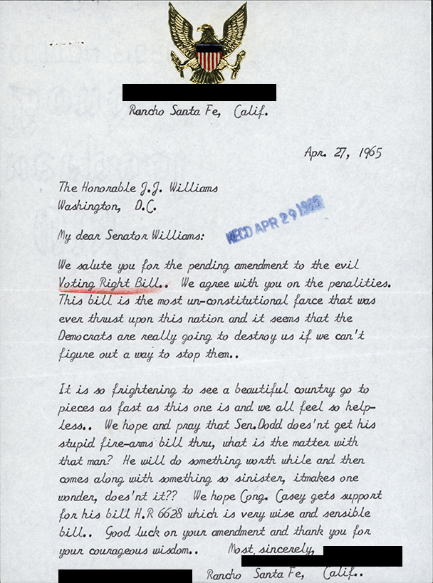 Letter from constituent sent to Senator John J. Williams regarding the Voting Rights Act.
