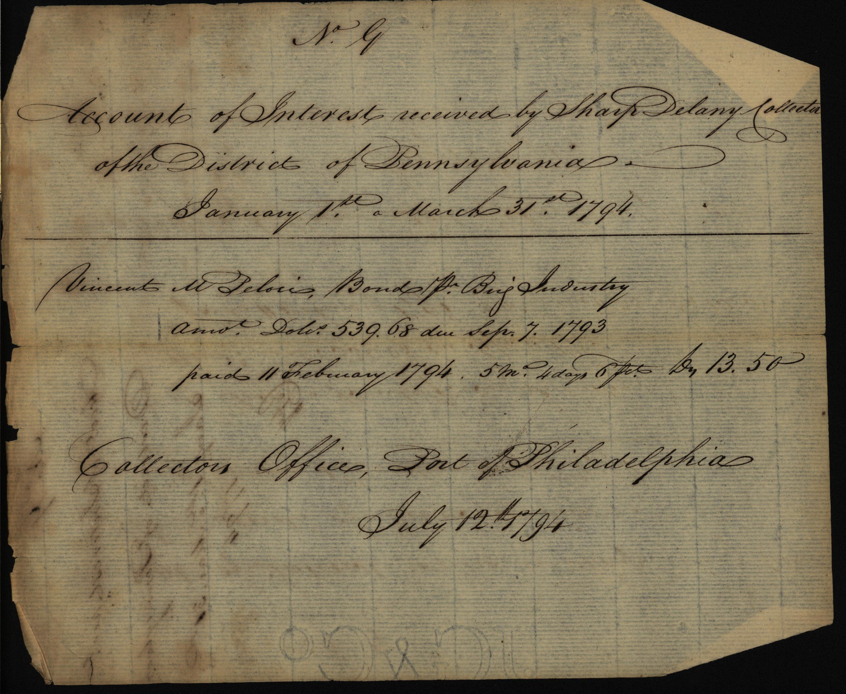 Account of interest received by Sharp Delany, Collector, 1794