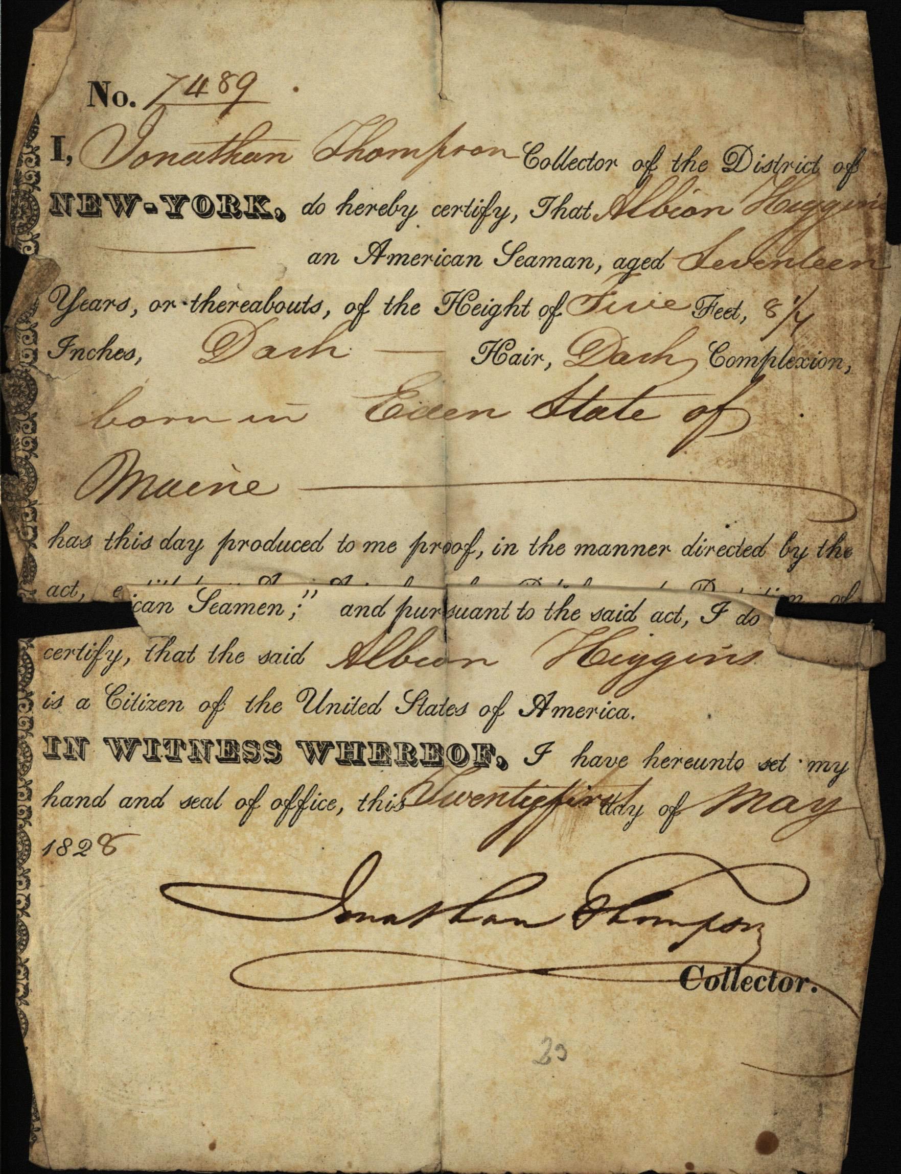 Albion Huggins' certificate of citizenship, 1828