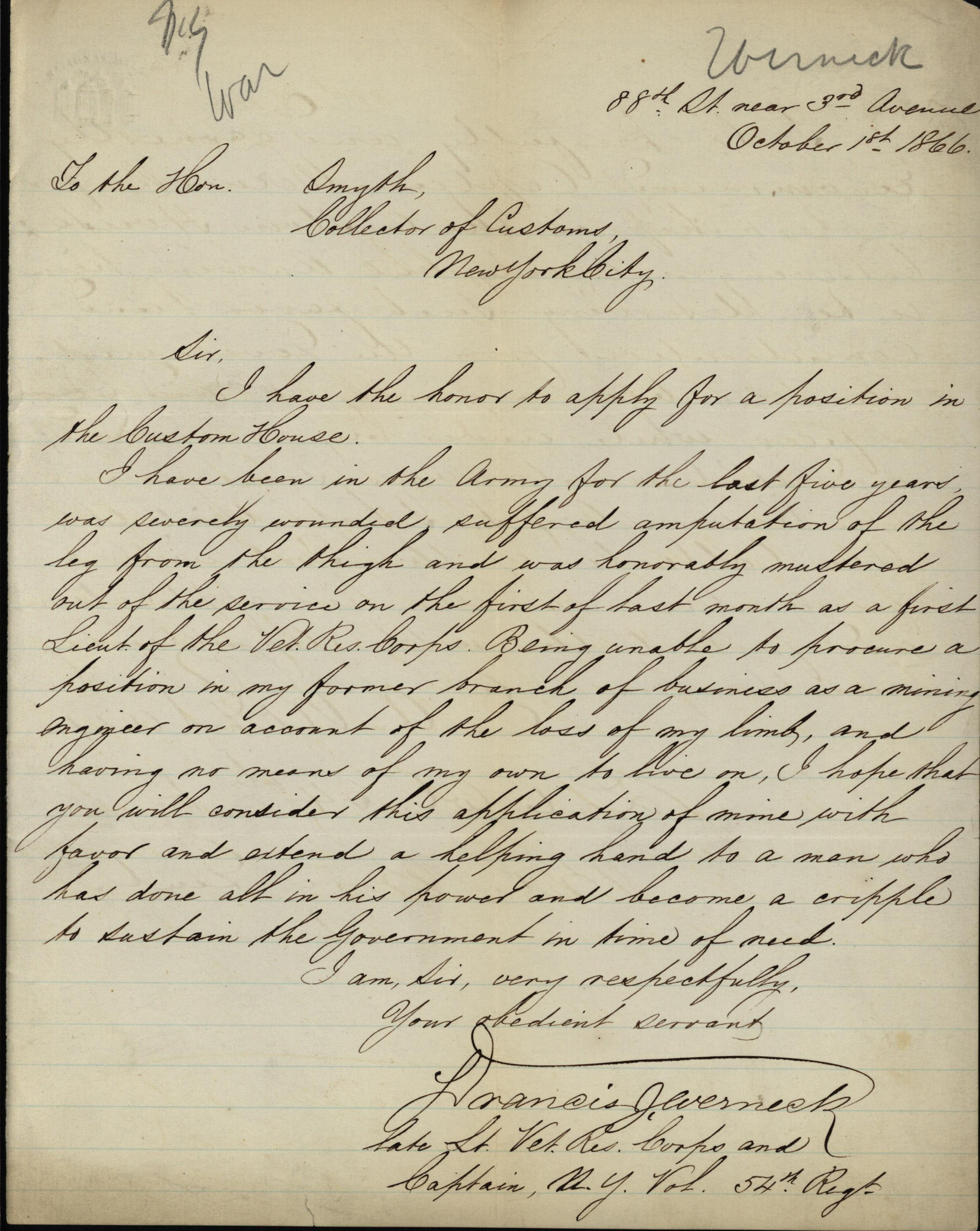 Letter to the Collector of Customs from Francis Wernick, a Civil War veteran, October 1, 1866