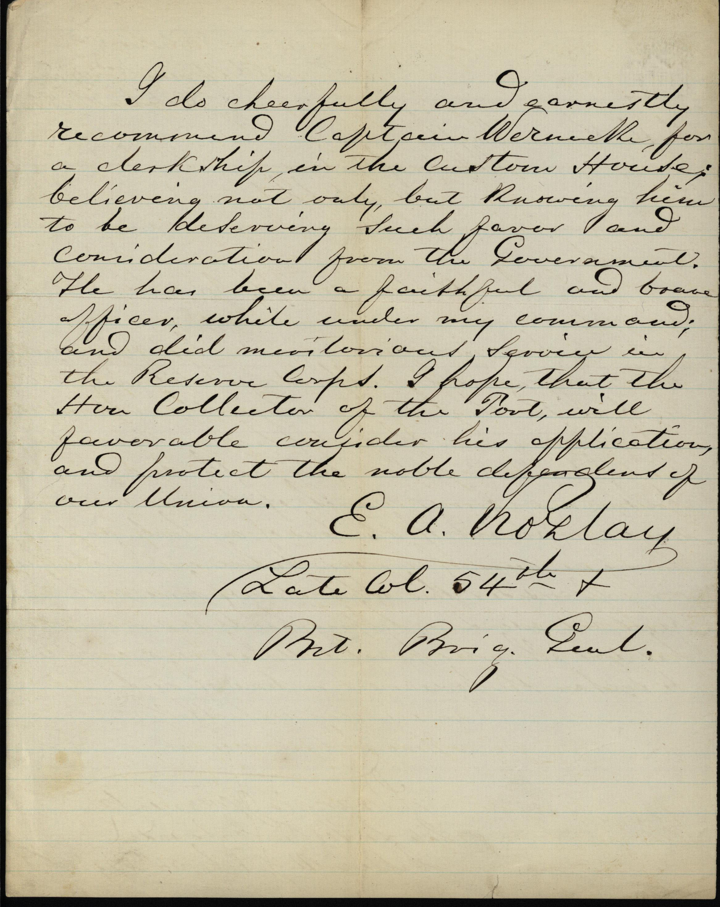 Letter to the Collector of Customs from Francis Wernick, a Civil War veteran, verso, October 1, 1866