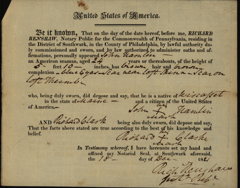 John Hamlin, oath of citizenship, 1821
