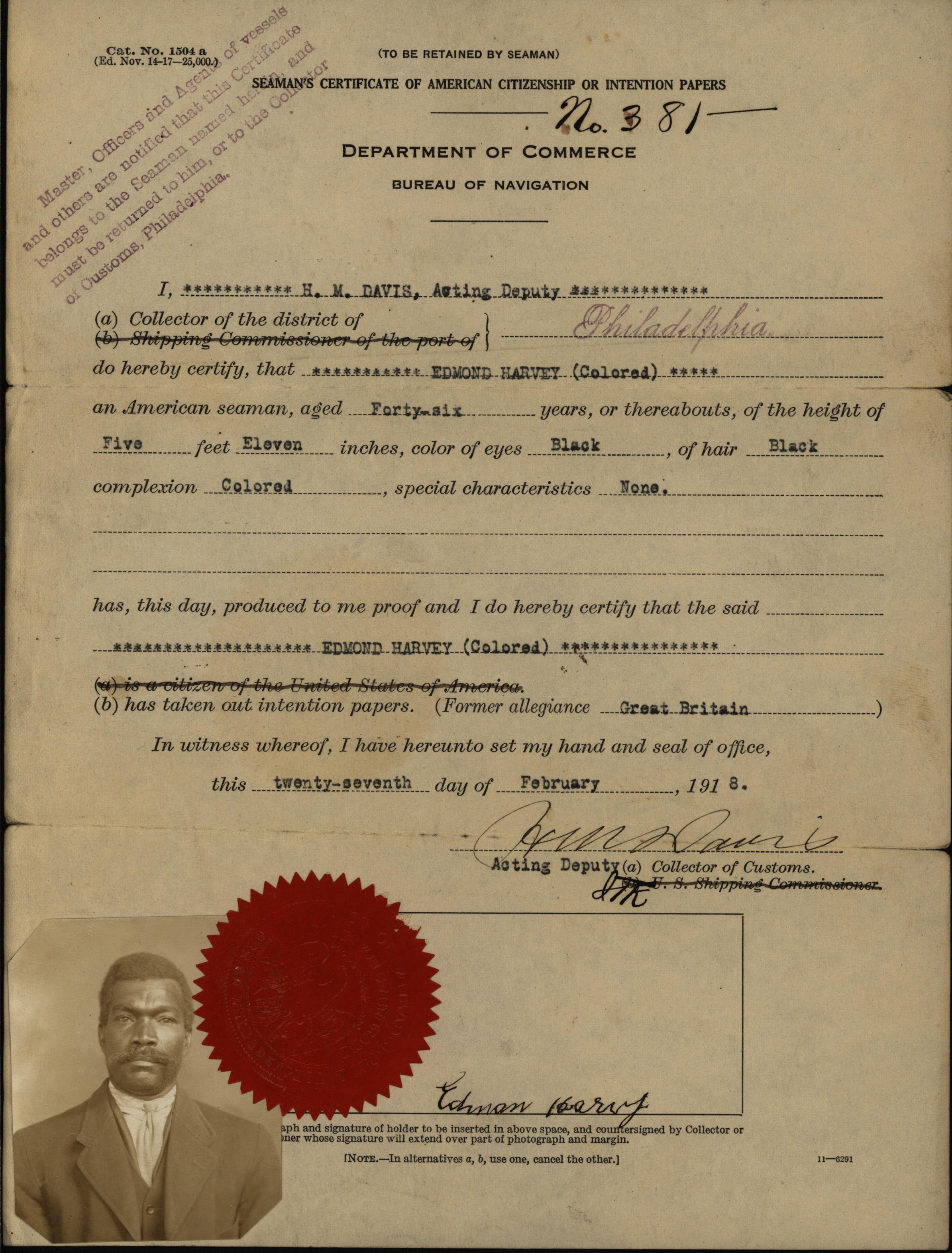 Edmond Harvey, seaman's certificate of intention papers, 1918