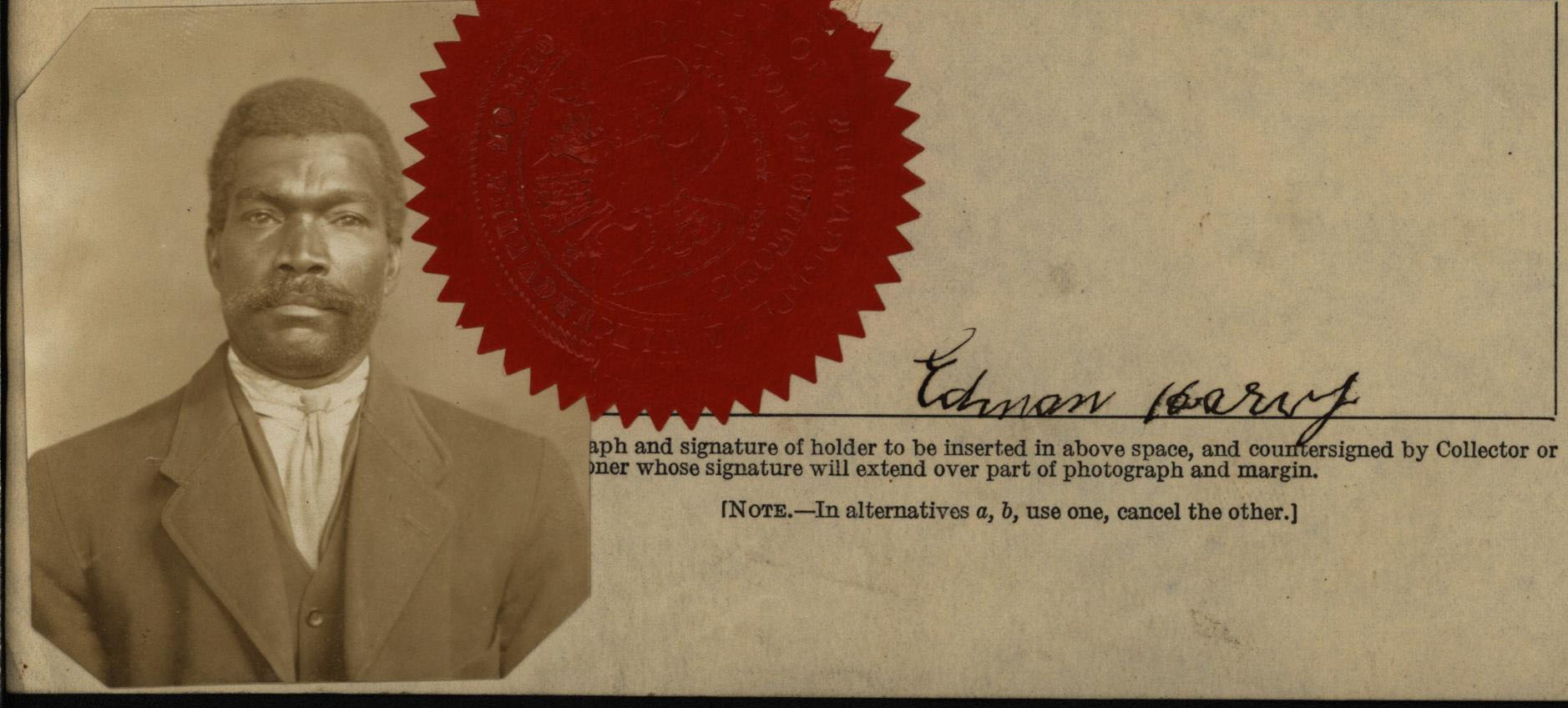 Edmond Harvey, seaman's certificate of intention papers, detail, 1918