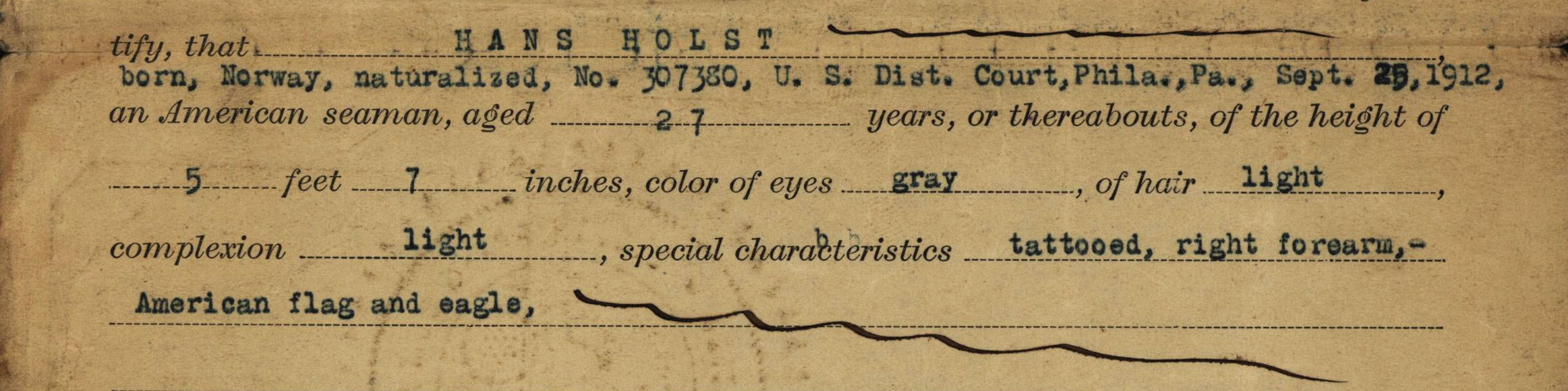 Hans Holst, seaman's certificate of American citizenship, detail two, 1917