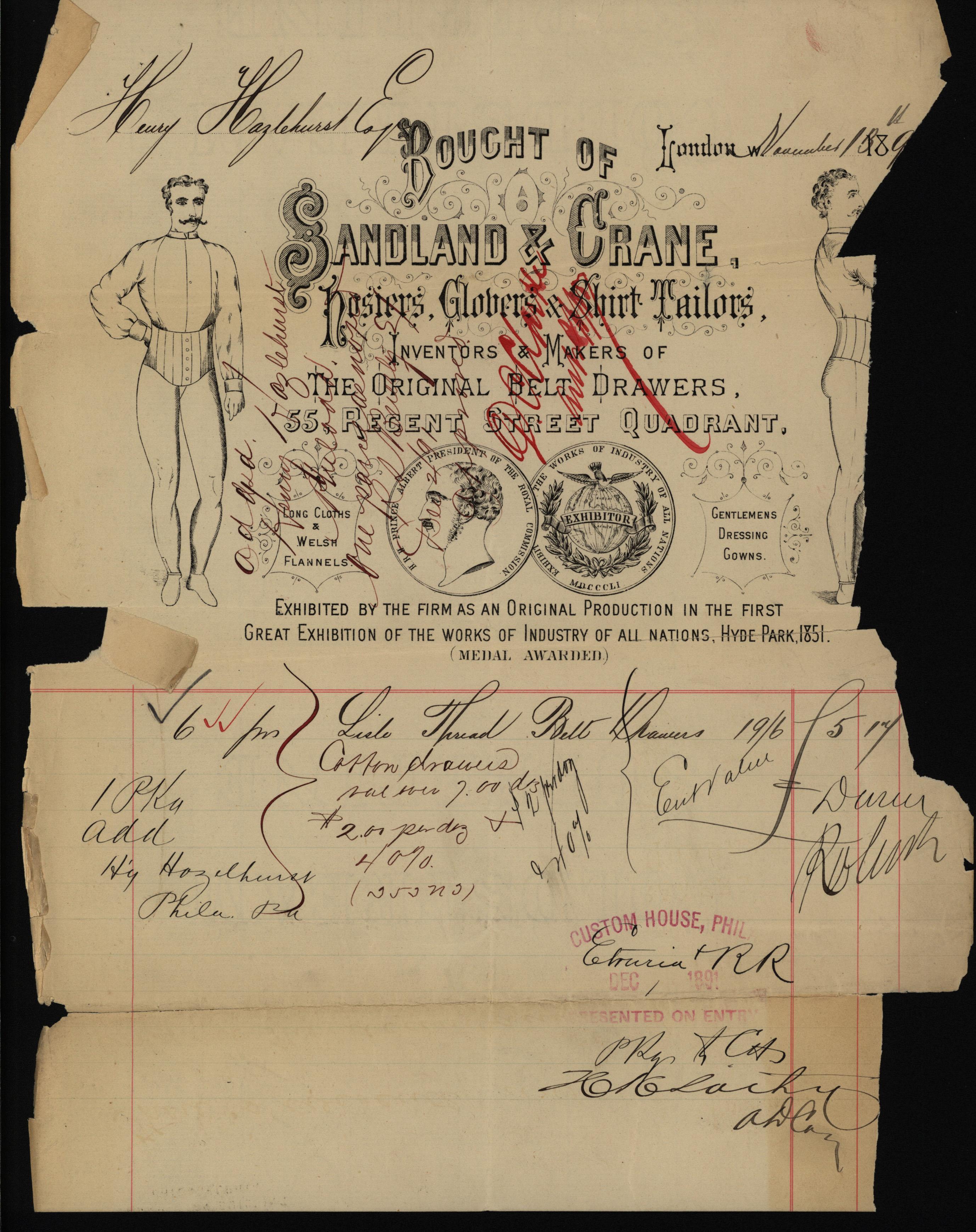 Invoice for belt drawers, Sandland & Crane, 1891