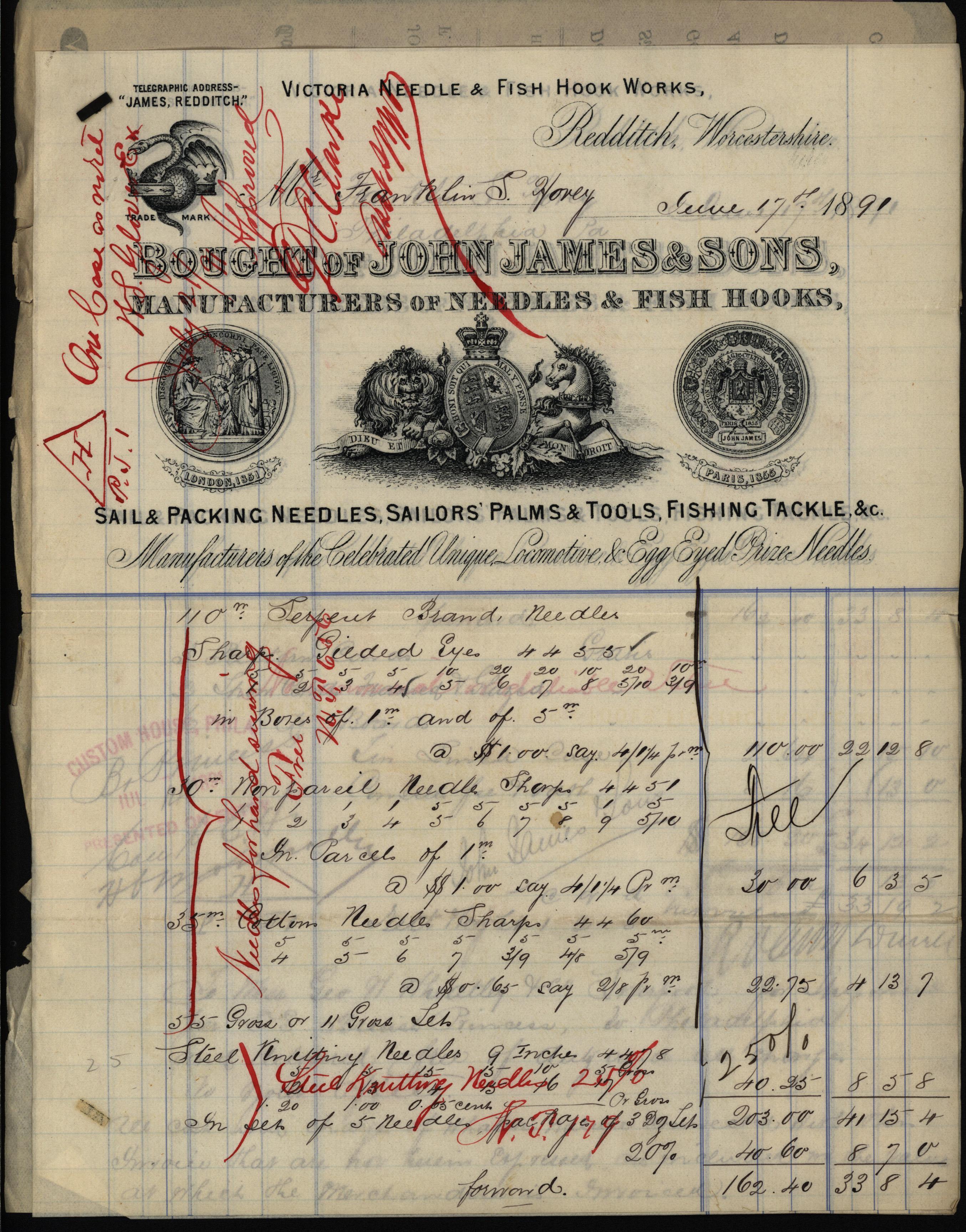 Invoice for needles, John James & Sons, 1891