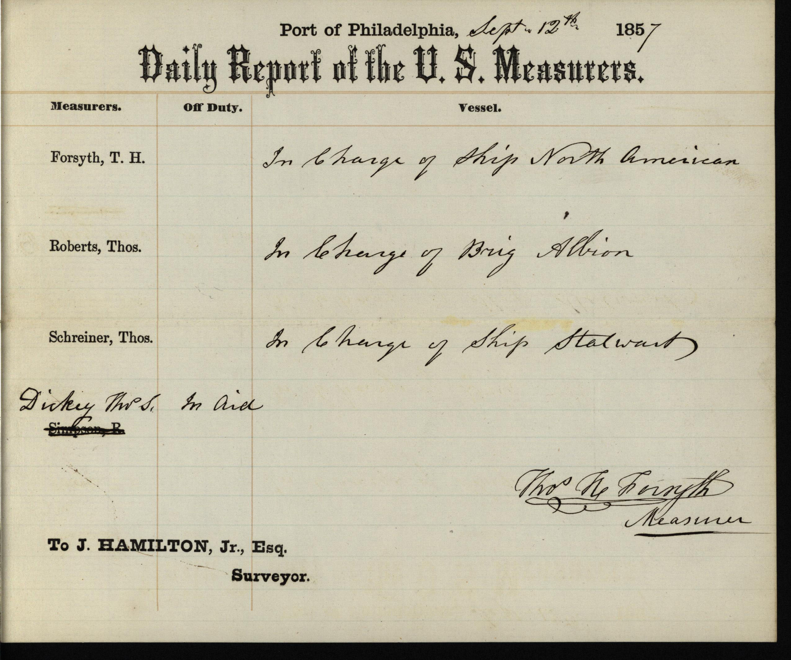 Daily Report of the U.S. Measurers, 1857