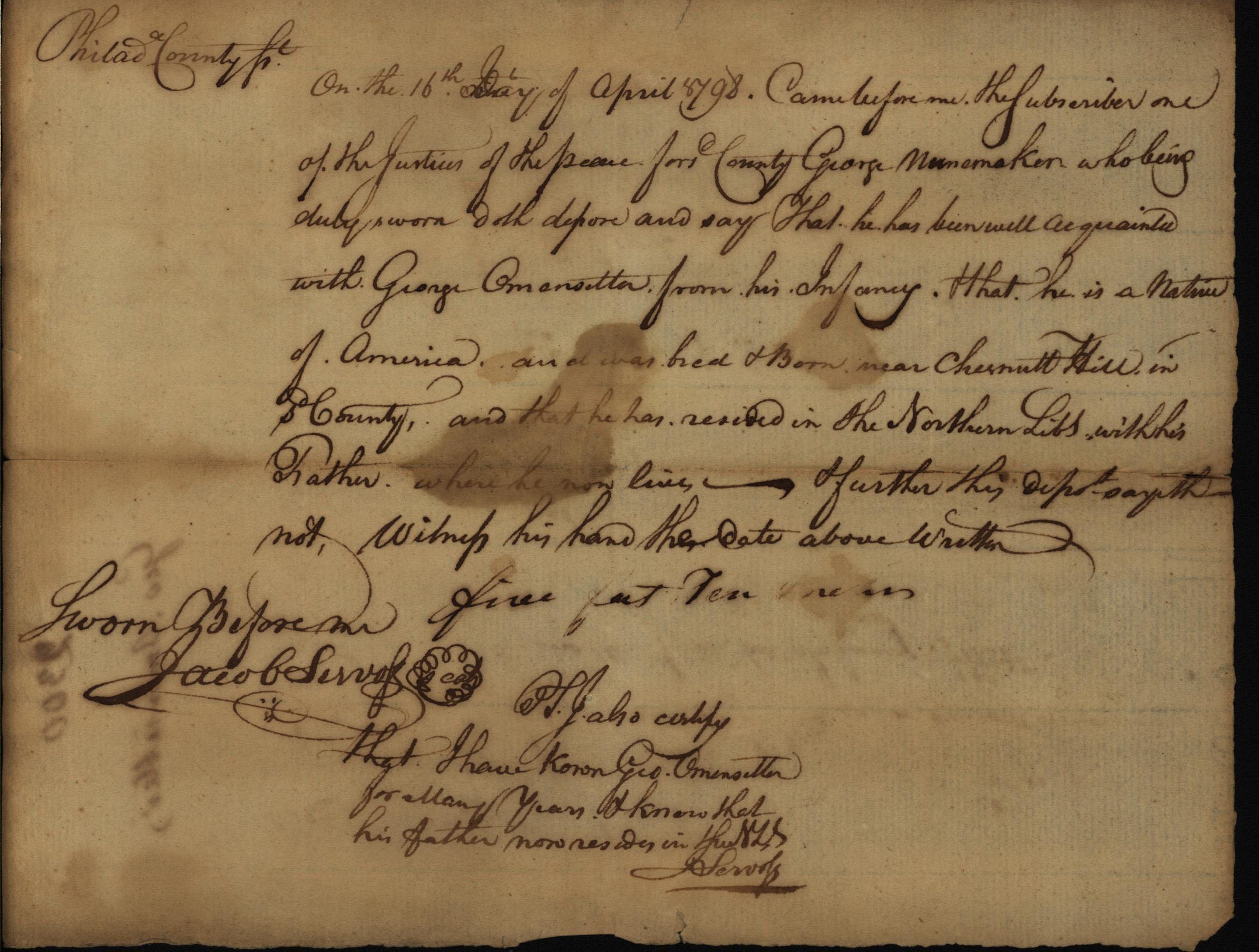 George Omensetter, oath of citizenship, 1798