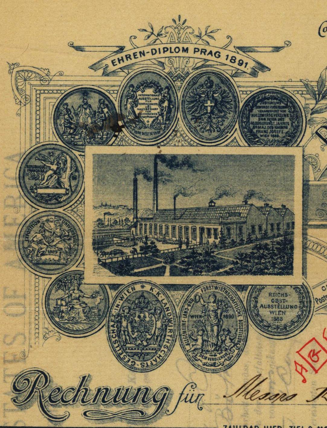 Invoice for parchment paper, detail one, Prager Pergament-Papier-Fabrik, 1895