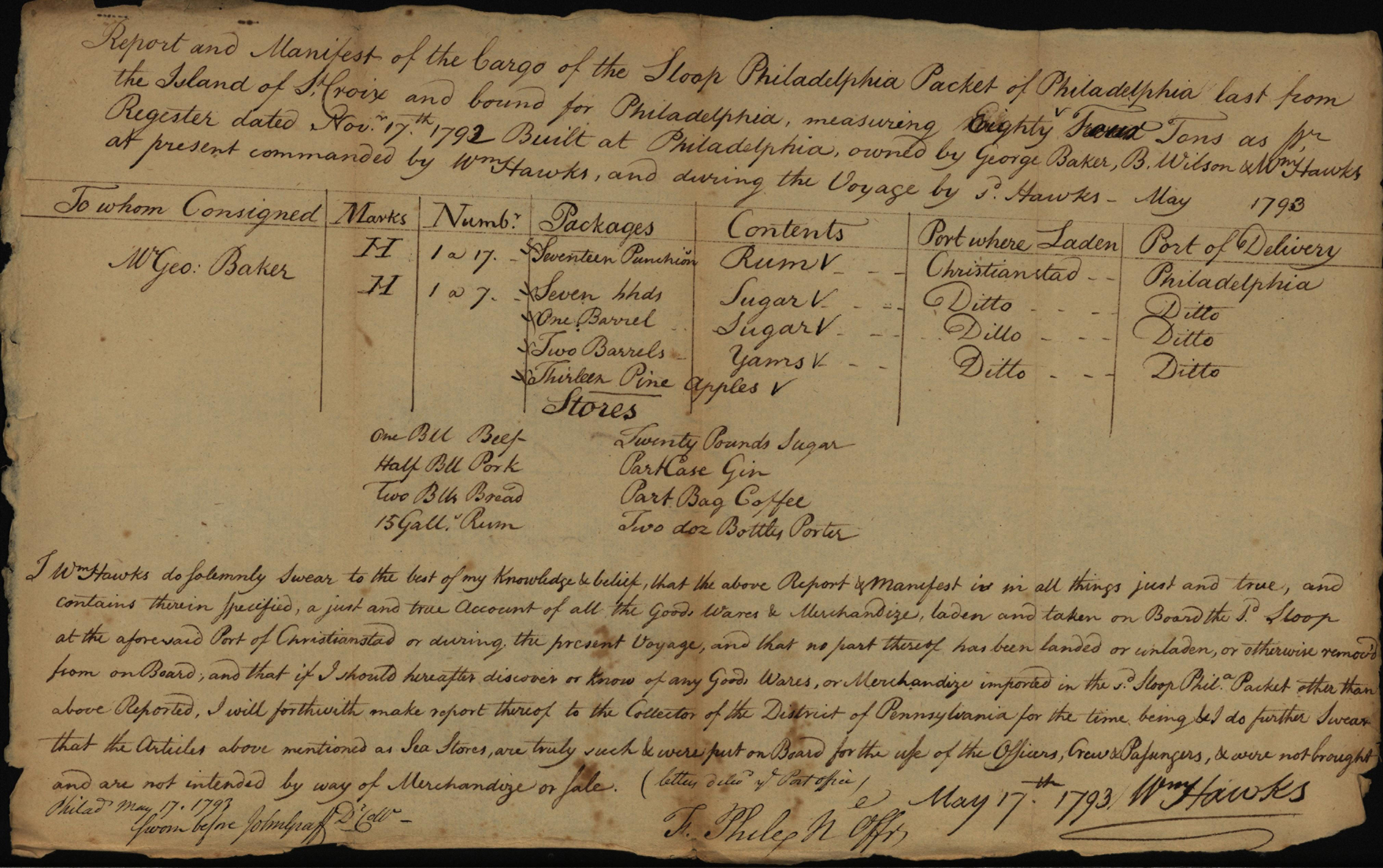 Report and Manifest of Cargo, 1793