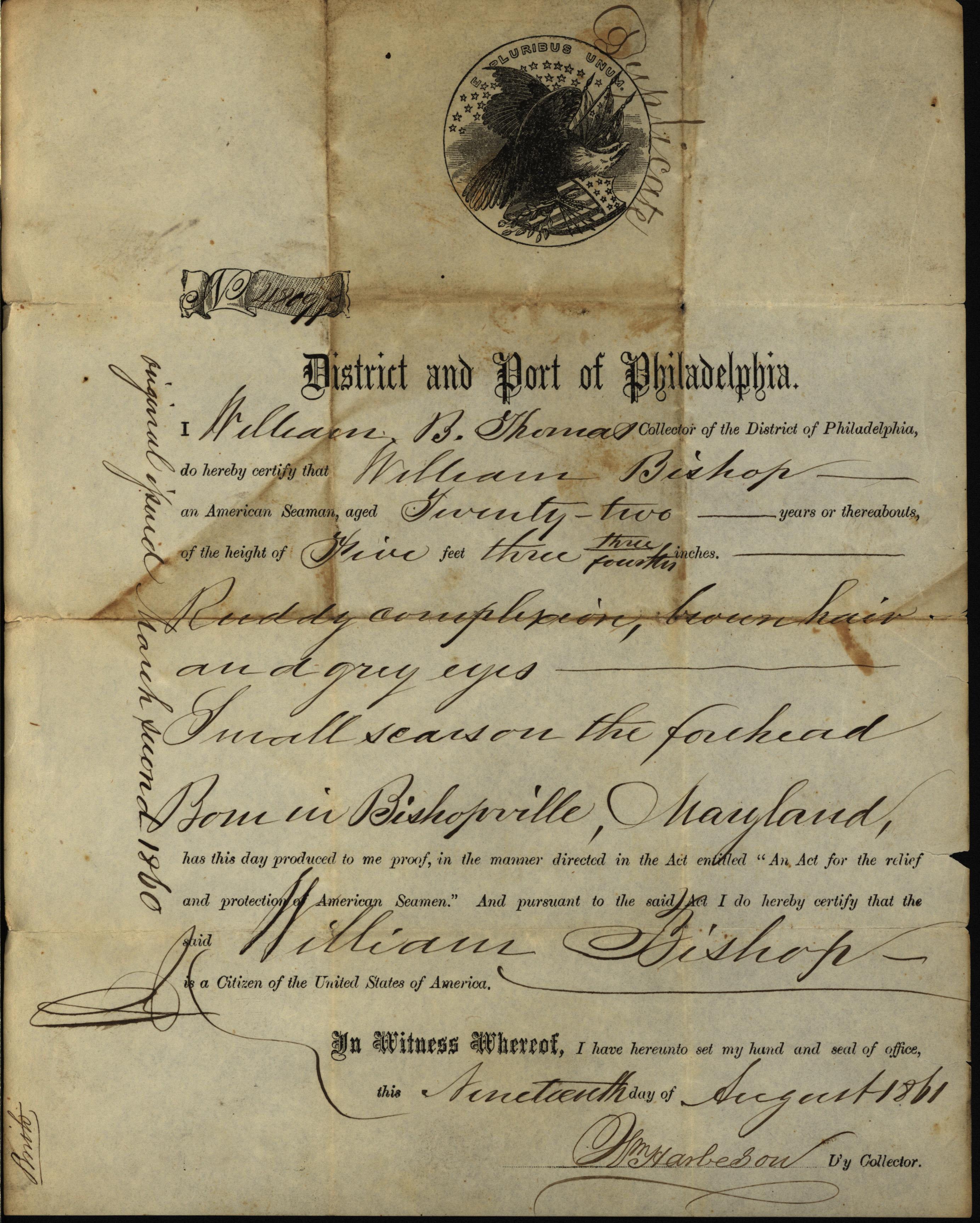 William B. Thomas, seaman's certificate of American citizenship, 1861