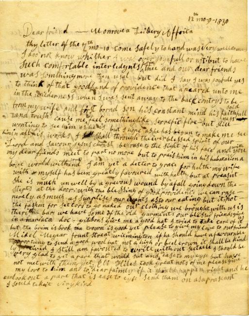 Solomon Bayley (ca. 1771 – ca. 1839). Autograph letter to Joseph Bringhurst, Jr. (1767-1834), December 9, 1830.
