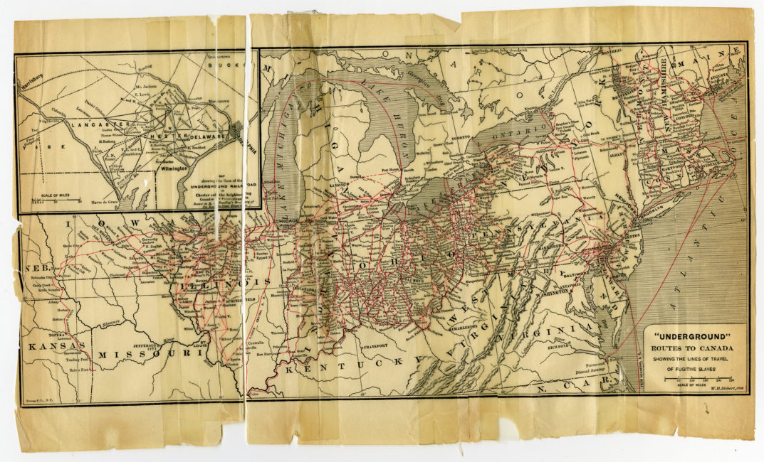 """Wilbur Henry Siebert (1866-1961). """"Underground"""" Routes to Canada Showing the Lines of Travel of Fugitive Slaves. New York: Bormay & Co., 1898."""