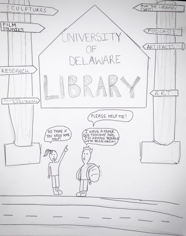 """Nicolette. """"University of Delaware Library,"""" pencil drawing, 2020."""
