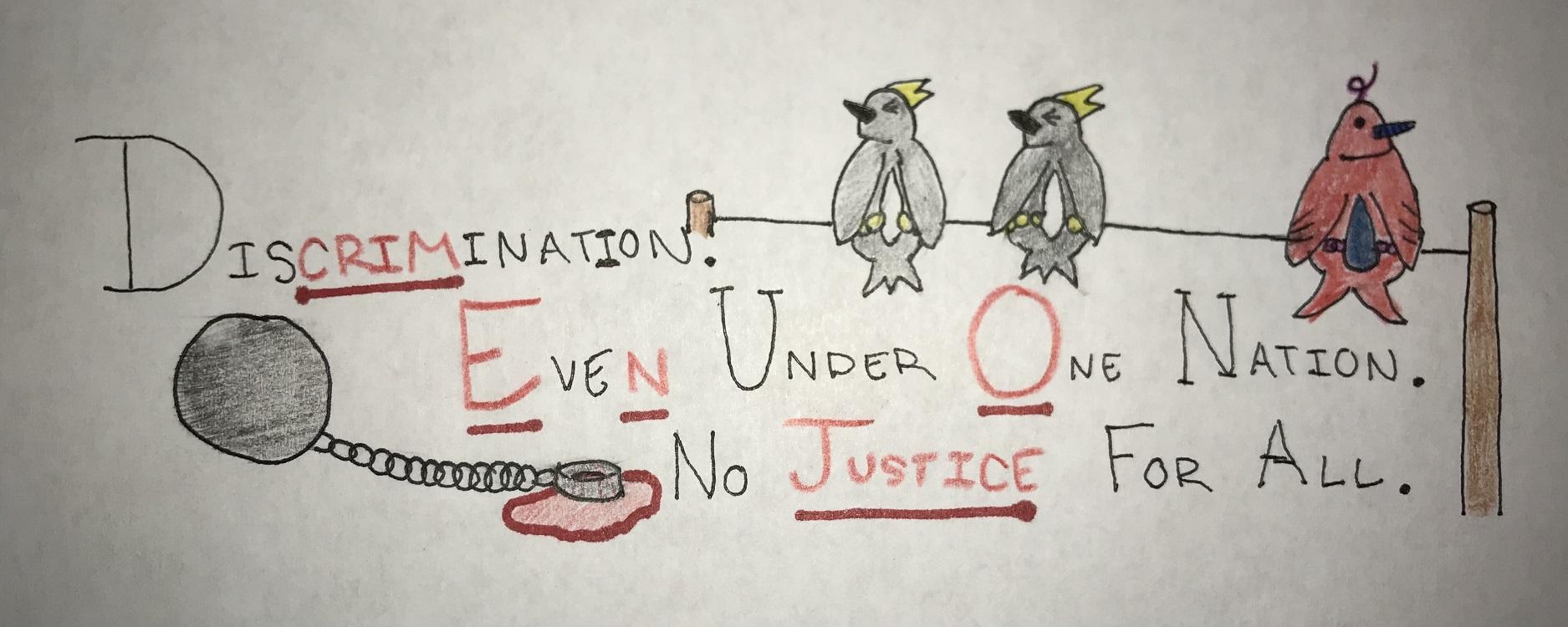 "Logan Gregory. ""Crime No Justice,"" drawing, 2020."