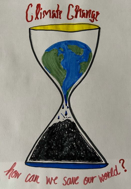 """Kaitlyn. """"Climate Change,"""" drawing, 2020."""