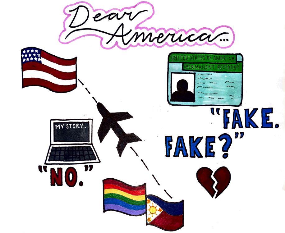 "Olivia Downs. ""Dear America,"" drawing, 2020."