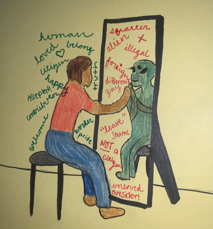 "Jill Herron. ""Digital Reflection,"" drawing, 2020."