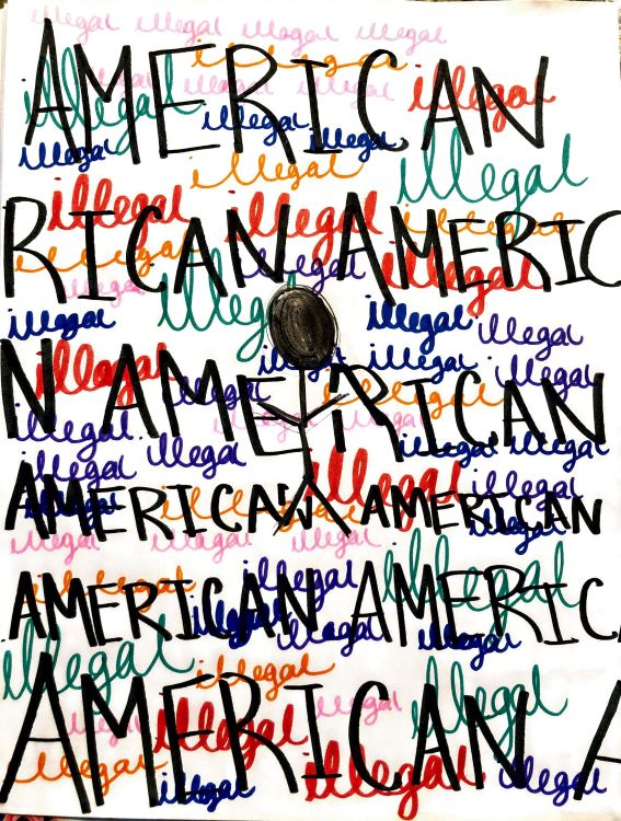 """Olivia. """"American Illegal,"""" drawing, 2020."""