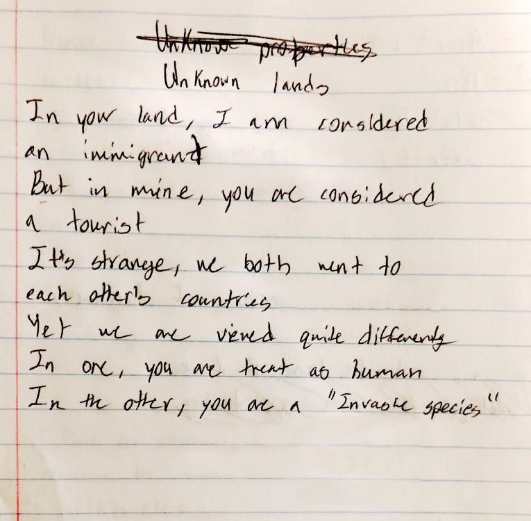 """Jay Patel. """"Unknown Lands,"""" manuscript poem, 2020."""