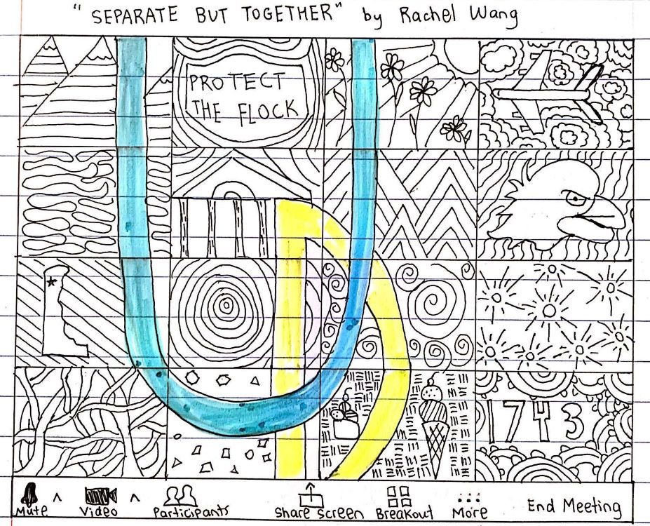 """Rachel Wang. """"Separate But Together,"""" drawing, 2020."""