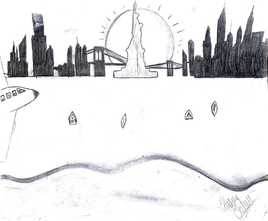 """Hisina Gaber. """"Digital Reflection,"""" drawing, 2020."""