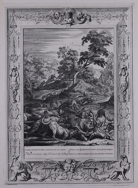 Actaeon Turned into a Stag, and Devoured by His Dogs, 1731. From The Temple of the Muses.