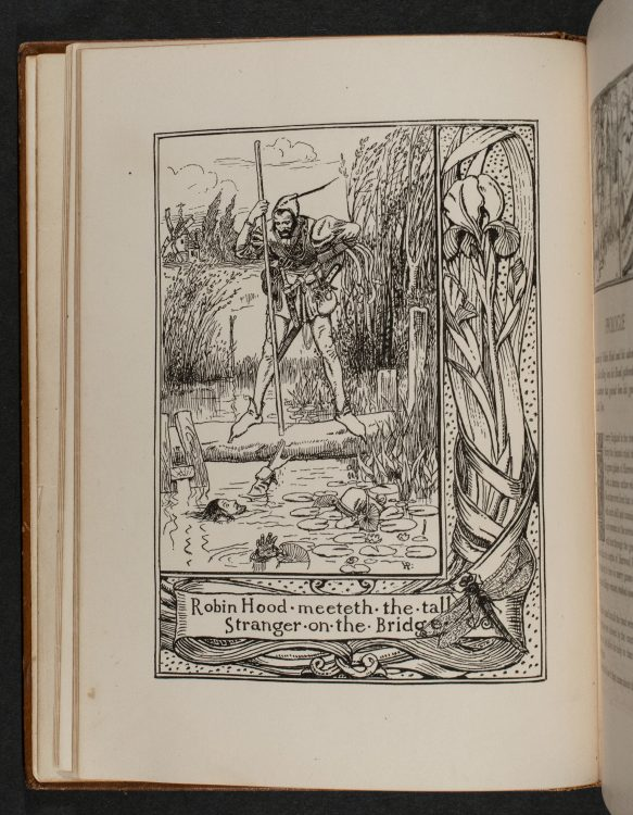Robin Hood meeteth the tall Stranger on the Bridge and [Illustrations for Prologue]