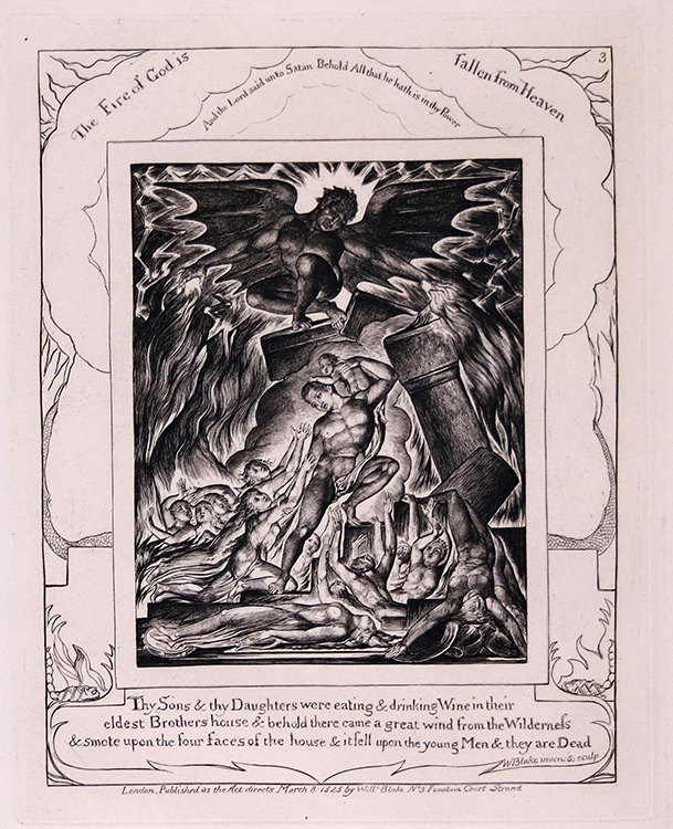 Plate III, Job's Sons and Daughters Overwhelmed by Satan (or, The Fire of God is Fallen from Heaven), 1825