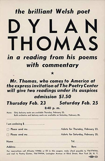 92nd St. Y Poetry Center program advertising 1950 Dylan Thomas reading