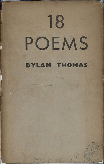 Dust jacket for Dylan Thomas's 18 Poems (1934)