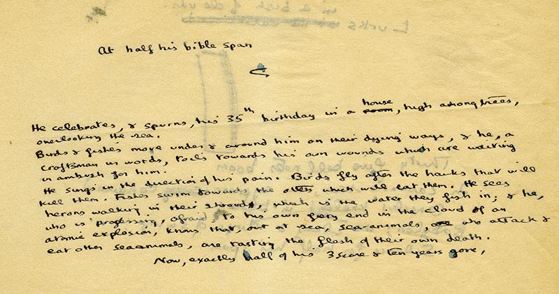 "Notes toward ""Poem on his Birthday"" (1952), undated"