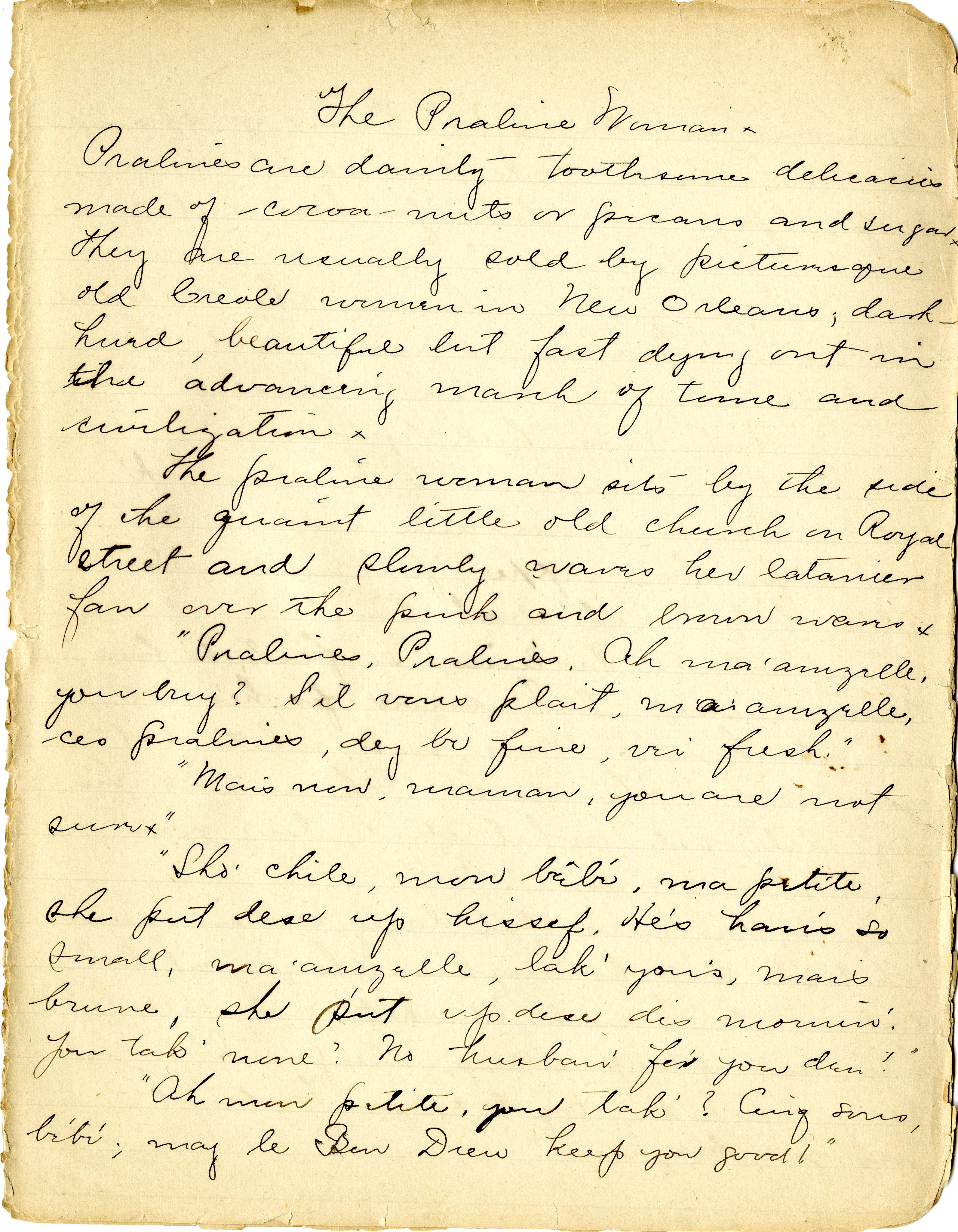 """Dunbar-Nelson, Alice More. Composition Book. Manuscript draft of """"The Praline Woman,"""" May 2, 1897 from the Alice Dunbar-Nelson papers"""