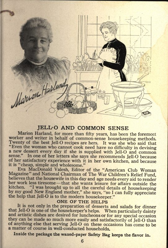 """""""Marion Harland.""""All Doors Open to Jell-O, America's Most Famous Dessert. The Genesee Pure Food Company, 1917"""