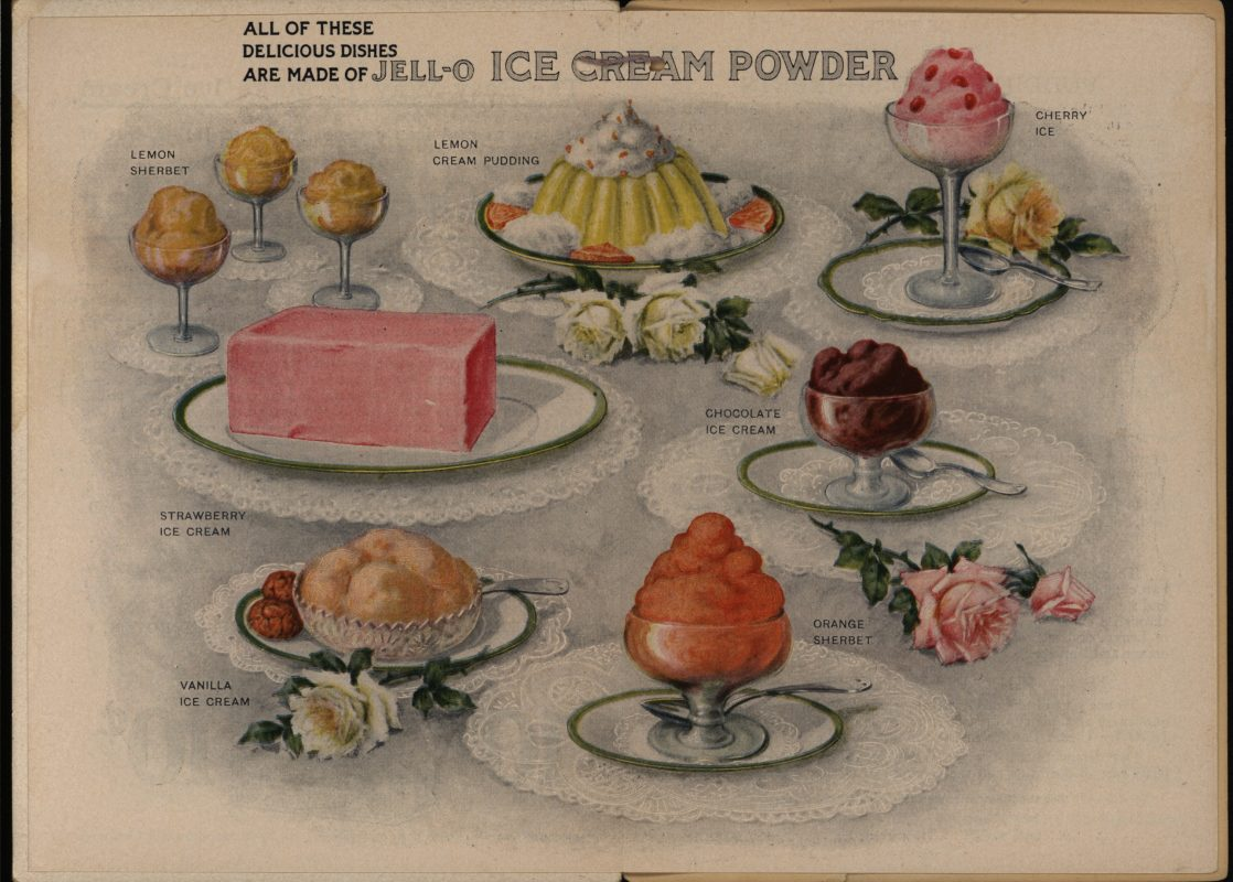 Advertisement for Jell-O Ice Cream Powder. All Doors Open to Jell-O, America's Most Famous Dessert. The Genesee Pure Food Company, 1917
