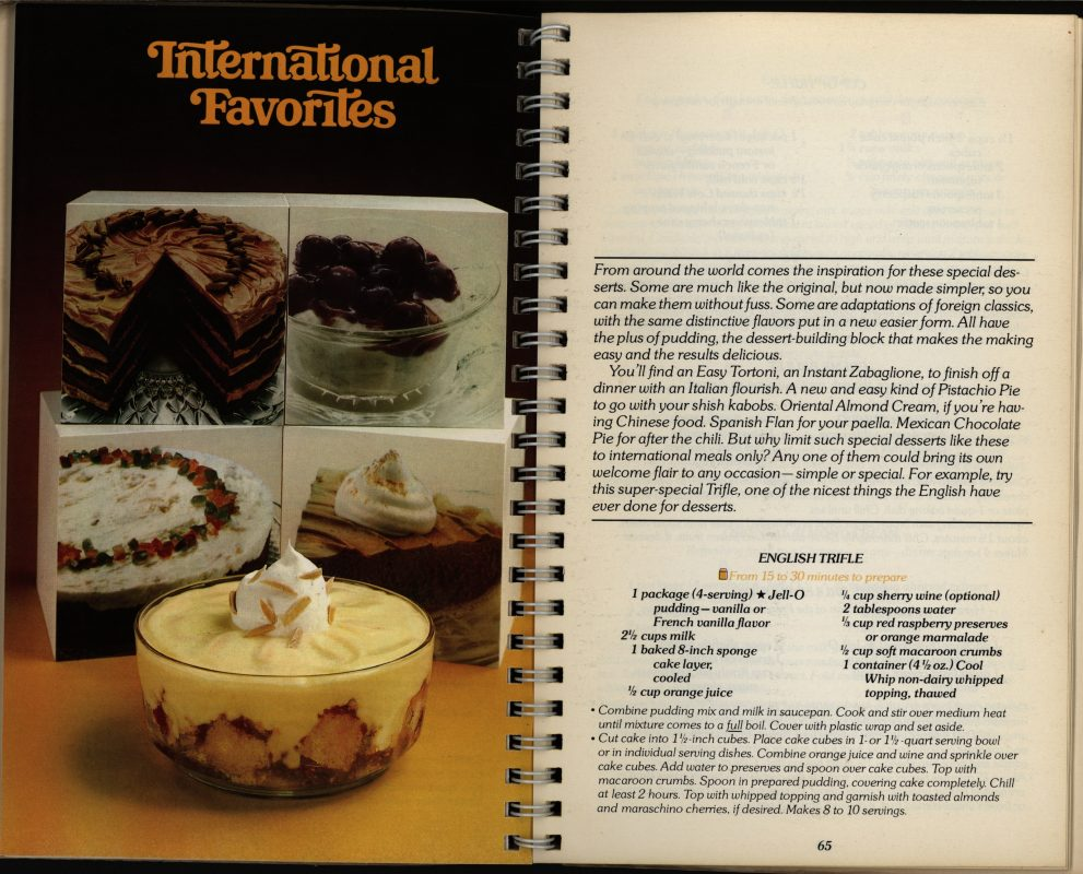 """International Favorites.""Easy Homemade Desserts with Jell-O Pudding.General Foods Corporation, 1979"