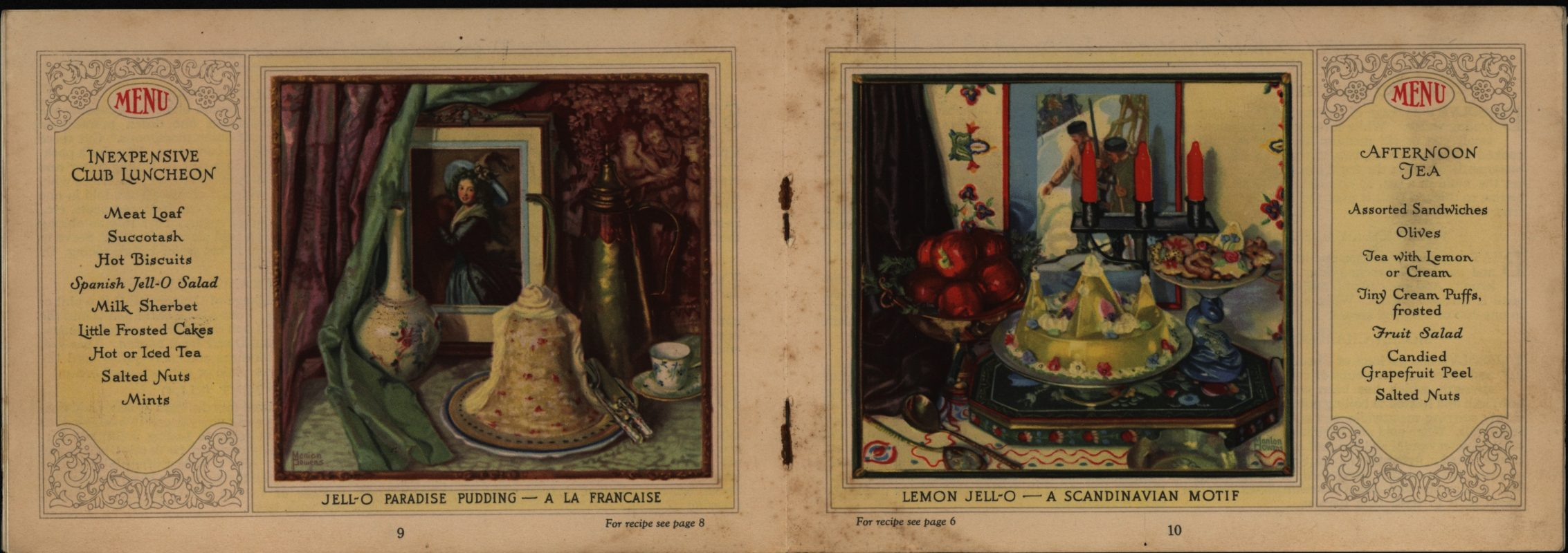 """A La Francaise"" and ""A Scandinavian Motif.""Jell-O, America's Most Famous Dessert. The Jell-O Company, Inc., circa 1923"