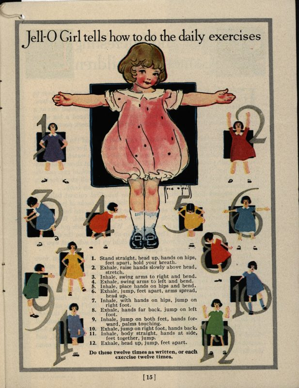 """Jell-O Girl tells how to do the daily exercises.""The Jell-O Girl Entertains. The Jell-O Company, Inc., circa 1925"