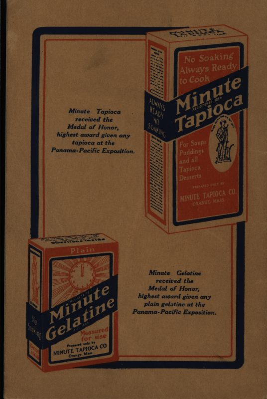 The Minute Cookbook. Orange, MA: Minute Tapioca Co., 1915