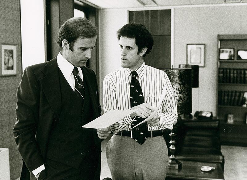 Photograph of Senator Joe Biden with Ted Kaufman in his Wilmington office, circa 1973