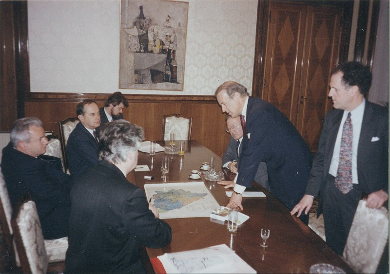 Photograph with Senator Joseph R. Biden, Jr., Slobodan Milošević, and Radovan Karadžić in Belgrade