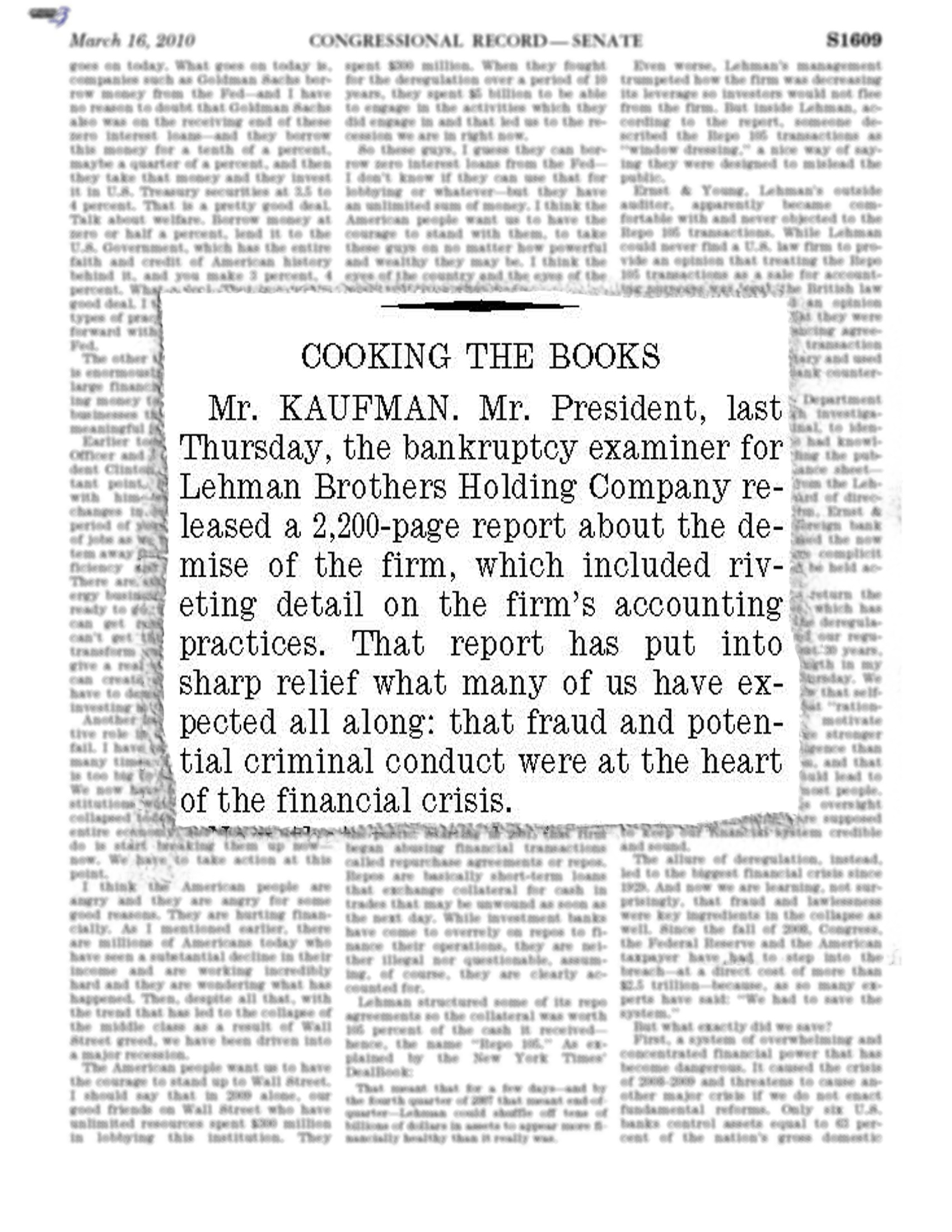 'Cooking the Books,' Congressional Record, 2010 March 16
