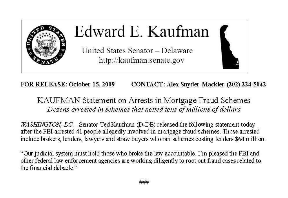 Thumbnail: 'Kaufman Statement on Arrests in Mortgage Fraud Schemes' press release, 2009 October 15