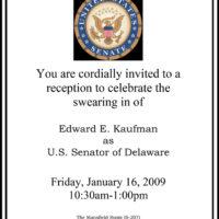Thumbnail: Invitation to Senator Ted Kaufman's swearing-in reception, 2009 January 16